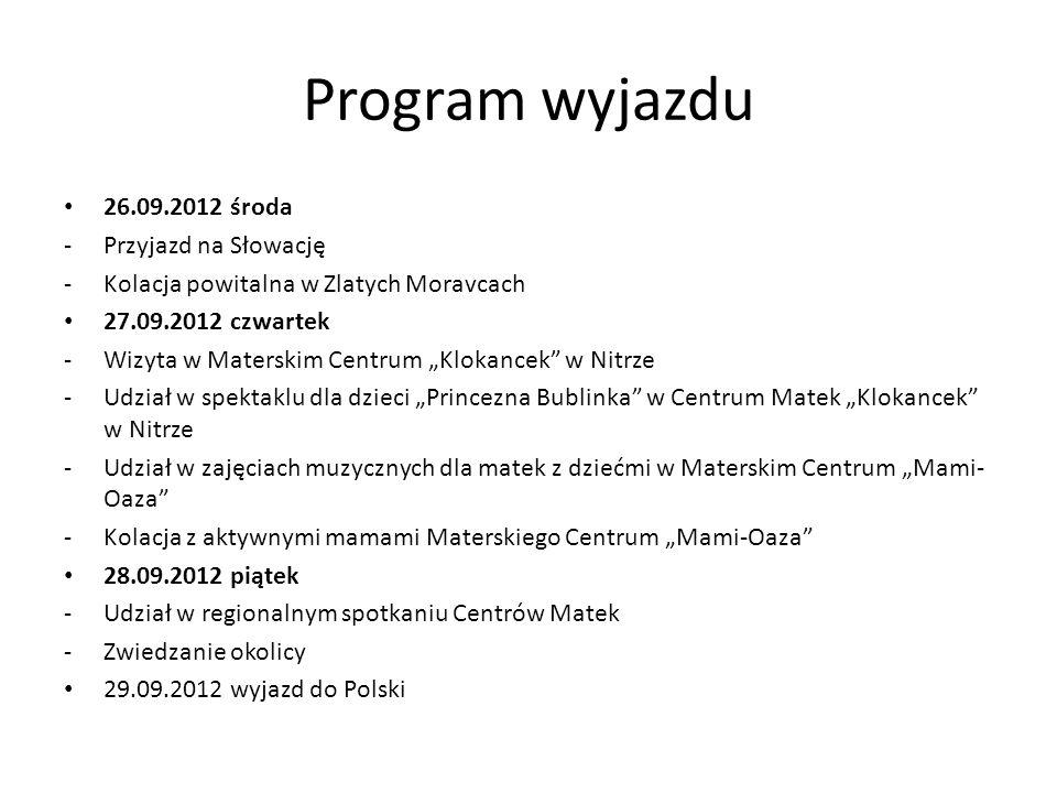 Unia Centrów Matek Na Słowacji działa około 60 Centrów Matek zrzeszonych w Unii od 2003 roku Prowadzą ogólnosłowackie programy dla Centrów Matek np.