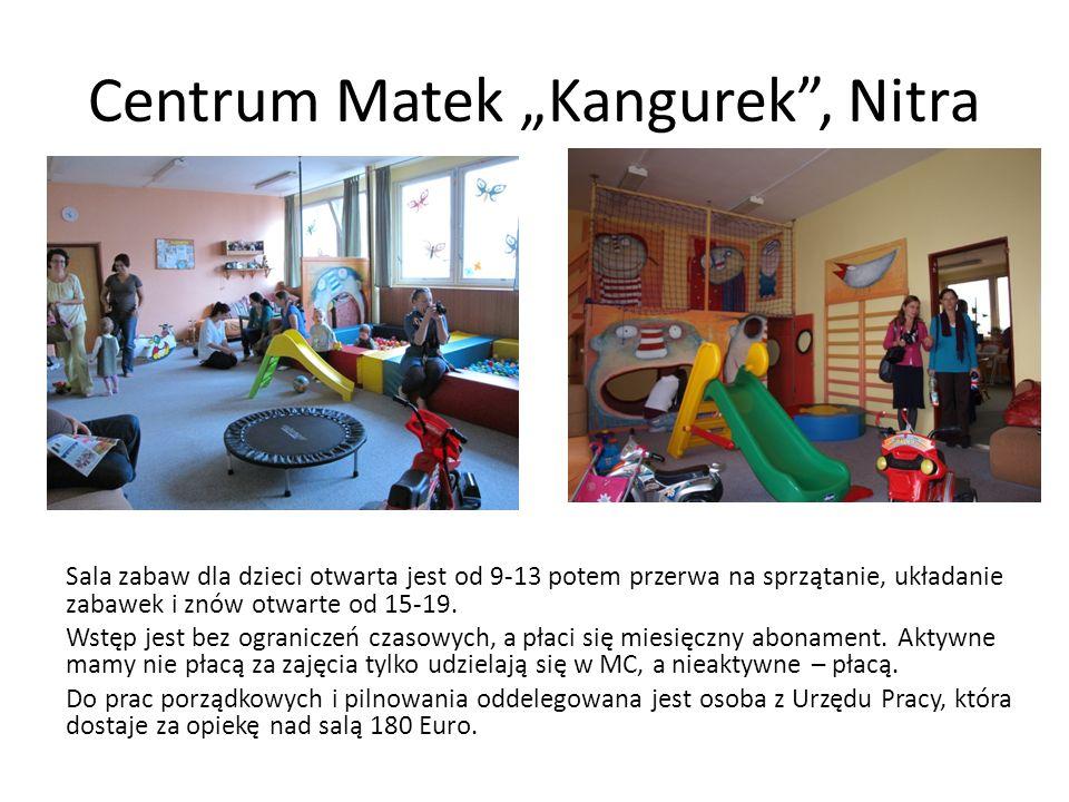 Centrum Matek Kangurek, Nitra Sala zabaw dla dzieci otwarta jest od 9-13 potem przerwa na sprzątanie, układanie zabawek i znów otwarte od 15-19. Wstęp