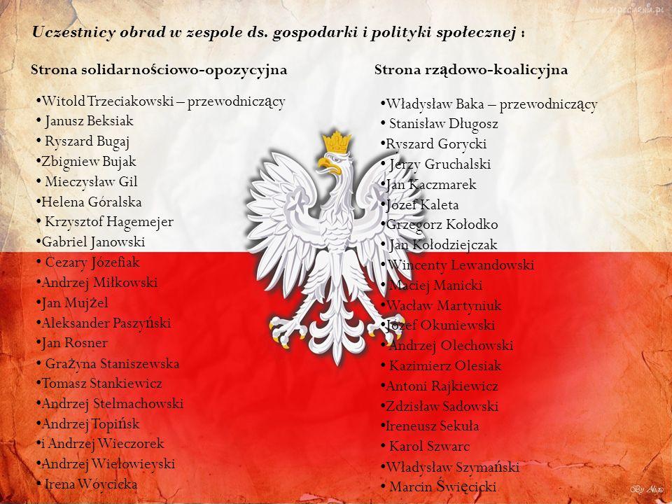 Uczestnicy obrad w zespole ds. gospodarki i polityki społecznej : Strona solidarno ś ciowo-opozycyjna Witold Trzeciakowski – przewodnicz ą cy Janusz B