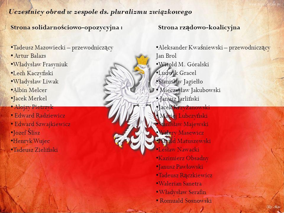 Uczestnicy obrad w zespole ds. pluralizmu zwi ą zkowego Strona solidarno ś ciowo-opozycyjna : Tadeusz Mazowiecki – przewodnicz ą cy Artur Balazs Włady