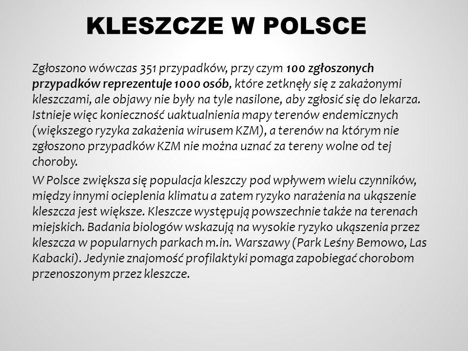 KLESZCZE W POLSCE Zgłoszono wówczas 351 przypadków, przy czym 100 zgłoszonych przypadków reprezentuje 1000 osób, które zetknęły się z zakażonymi kleszczami, ale objawy nie były na tyle nasilone, aby zgłosić się do lekarza.
