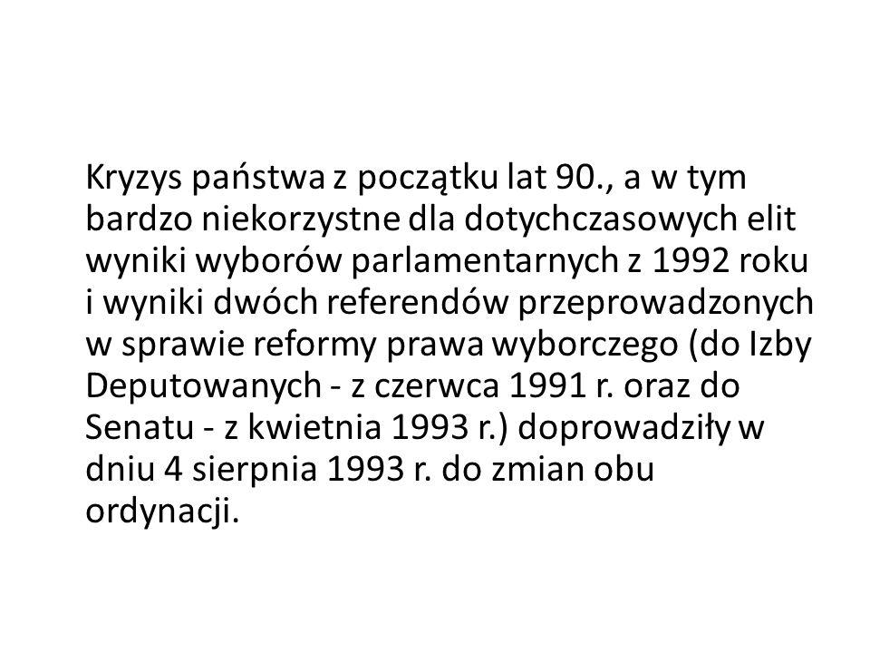 Kryzys państwa z początku lat 90., a w tym bardzo niekorzystne dla dotychczasowych elit wyniki wyborów parlamentarnych z 1992 roku i wyniki dwóch refe