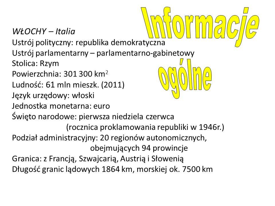 WŁOCHY – Italia Ustrój polityczny: republika demokratyczna Ustrój parlamentarny – parlamentarno-gabinetowy Stolica: Rzym Powierzchnia: 301 300 km 2 Lu