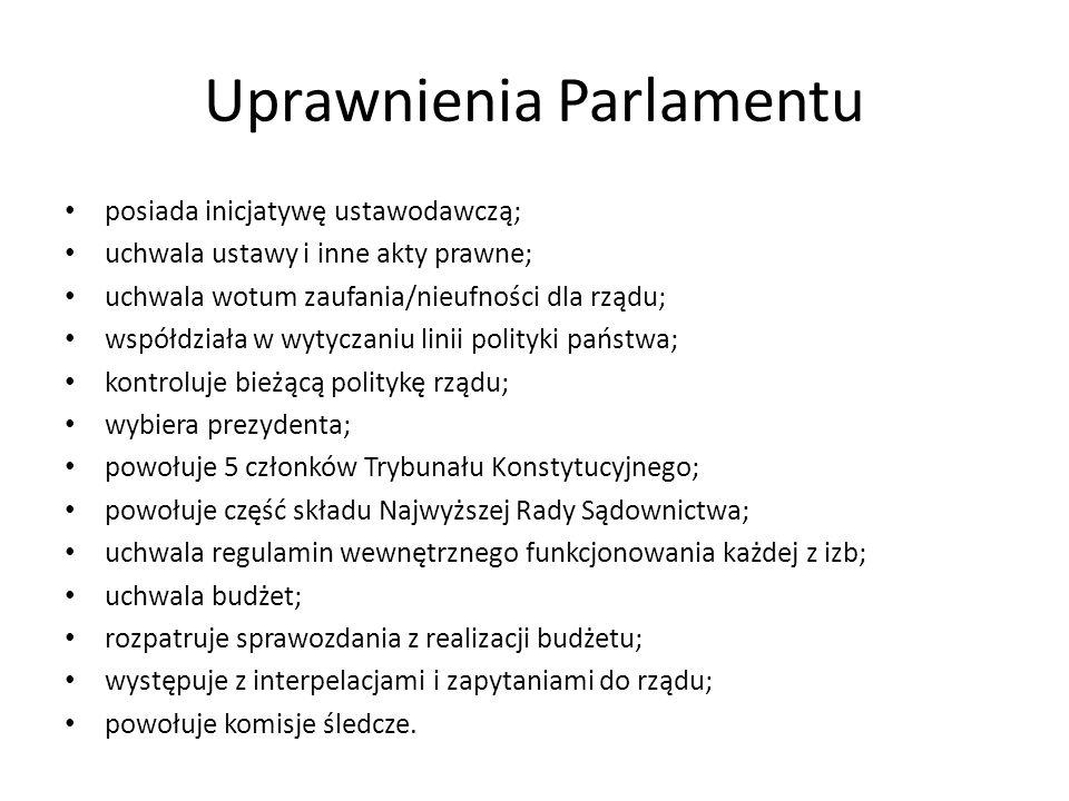Uprawnienia Parlamentu posiada inicjatywę ustawodawczą; uchwala ustawy i inne akty prawne; uchwala wotum zaufania/nieufności dla rządu; współdziała w
