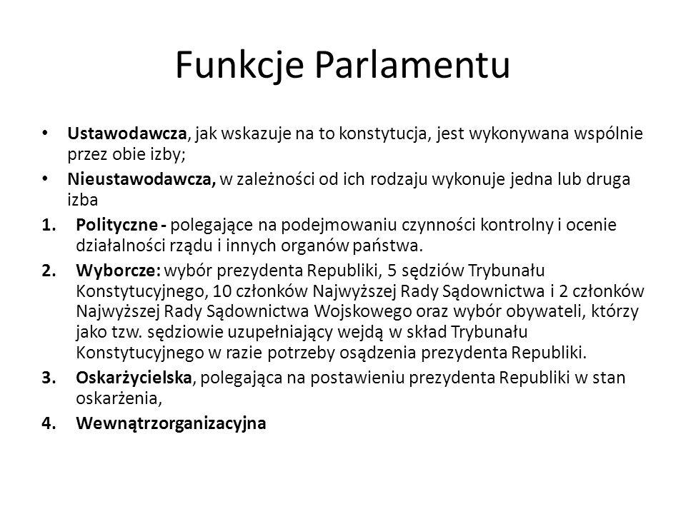 Funkcje Parlamentu Ustawodawcza, jak wskazuje na to konstytucja, jest wykonywana wspólnie przez obie izby; Nieustawodawcza, w zależności od ich rodzaj