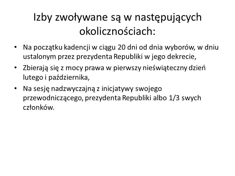 Izby zwoływane są w następujących okolicznościach: Na początku kadencji w ciągu 20 dni od dnia wyborów, w dniu ustalonym przez prezydenta Republiki w