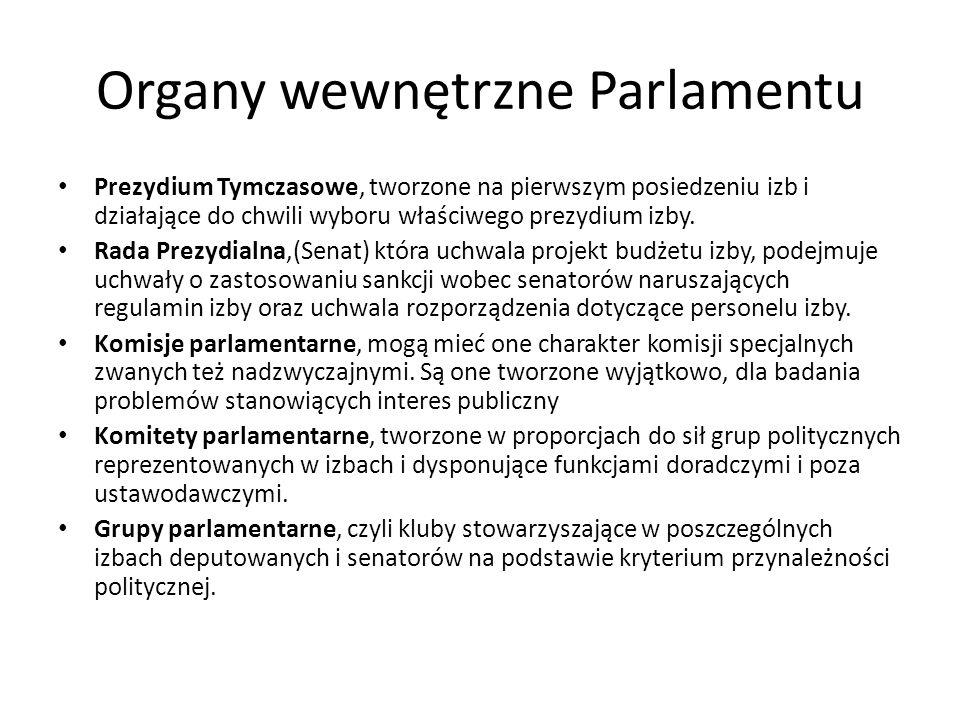 Organy wewnętrzne Parlamentu Prezydium Tymczasowe, tworzone na pierwszym posiedzeniu izb i działające do chwili wyboru właściwego prezydium izby. Rada