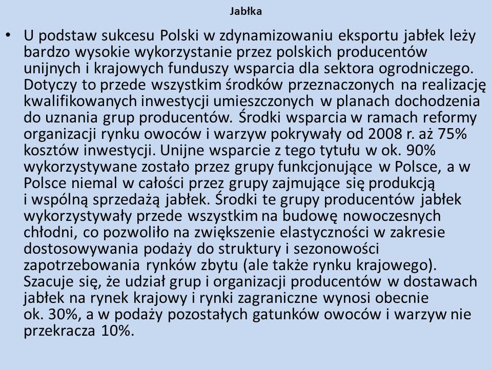 Jabłka U podstaw sukcesu Polski w zdynamizowaniu eksportu jabłek leży bardzo wysokie wykorzystanie przez polskich producentów unijnych i krajowych fun