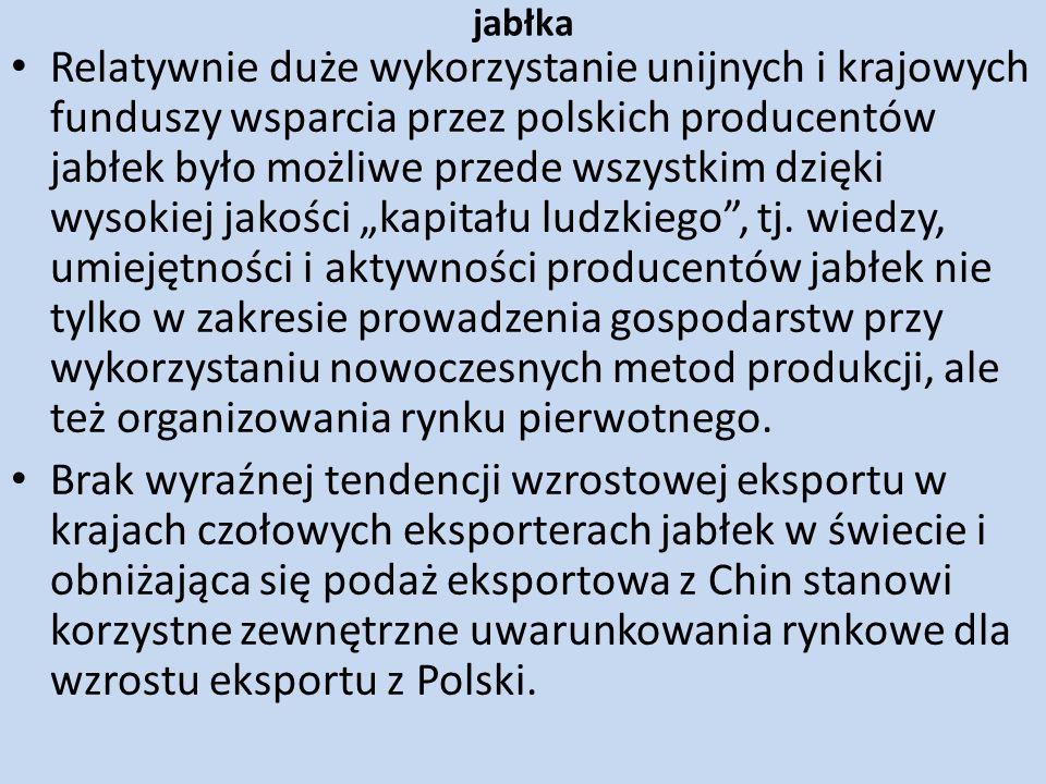 jabłka Relatywnie duże wykorzystanie unijnych i krajowych funduszy wsparcia przez polskich producentów jabłek było możliwe przede wszystkim dzięki wys