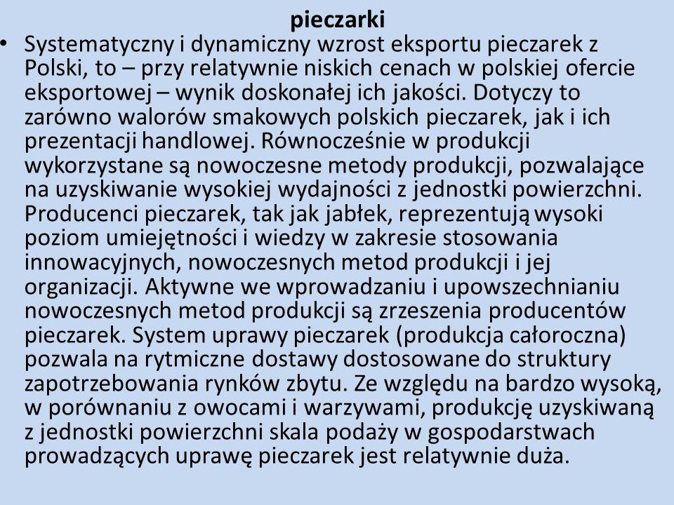 pieczarki Systematyczny i dynamiczny wzrost eksportu pieczarek z Polski, to – przy relatywnie niskich cenach w polskiej ofercie eksportowej – wynik do