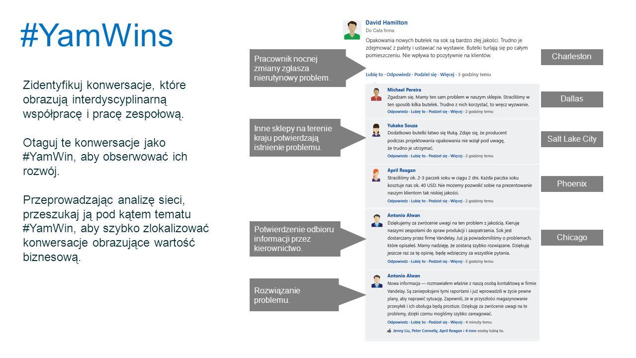 #YamWins Zidentyfikuj konwersacje, które obrazują interdyscyplinarną współpracę i pracę zespołową. Otaguj te konwersacje jako #YamWin, aby obserwować