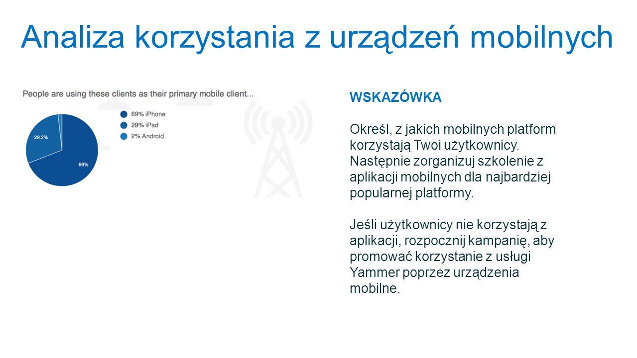 Analiza korzystania z urządzeń mobilnych WSKAZÓWKA Określ, z jakich mobilnych platform korzystają Twoi użytkownicy. Następnie zorganizuj szkolenie z a