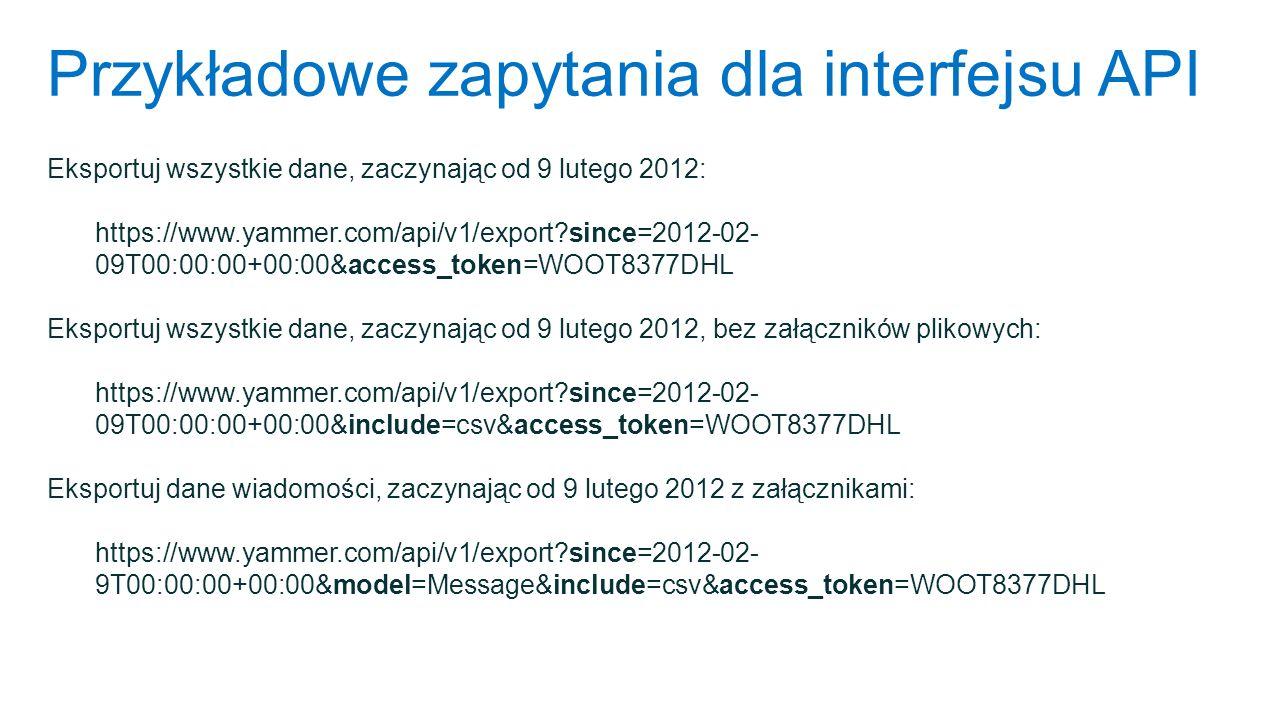 Przykładowe zapytania dla interfejsu API Eksportuj wszystkie dane, zaczynając od 9 lutego 2012: https://www.yammer.com/api/v1/export?since=2012-02- 09