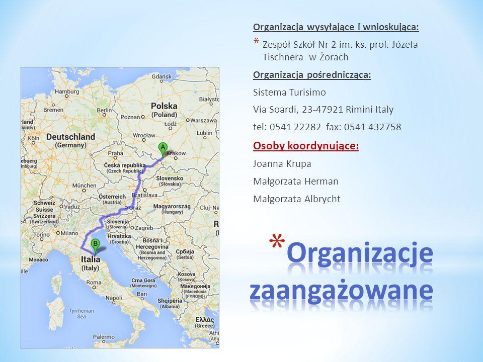 Organizacja wysyłające i wnioskująca: * Zespół Szkół Nr 2 im. ks. prof. Józefa Tischnera w Żorach Organizacja pośrednicząca: Sistema Turisimo Via Soar