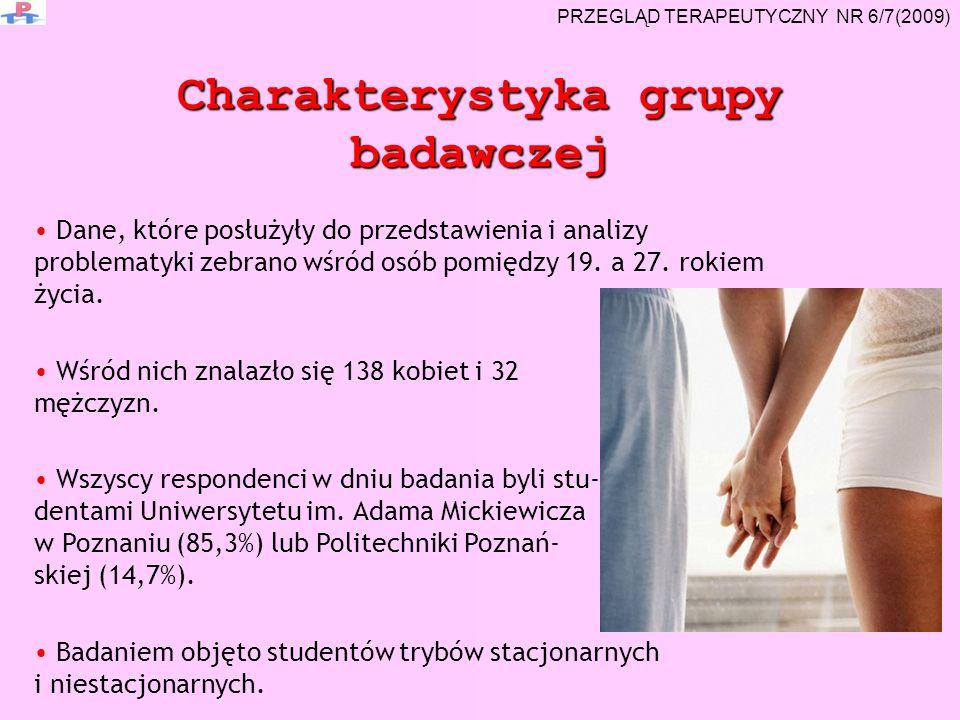 Charakterystyka grupy badawczej Dane, które posłużyły do przedstawienia i analizy problematyki zebrano wśród osób pomiędzy 19. a 27. rokiem życia. Wśr