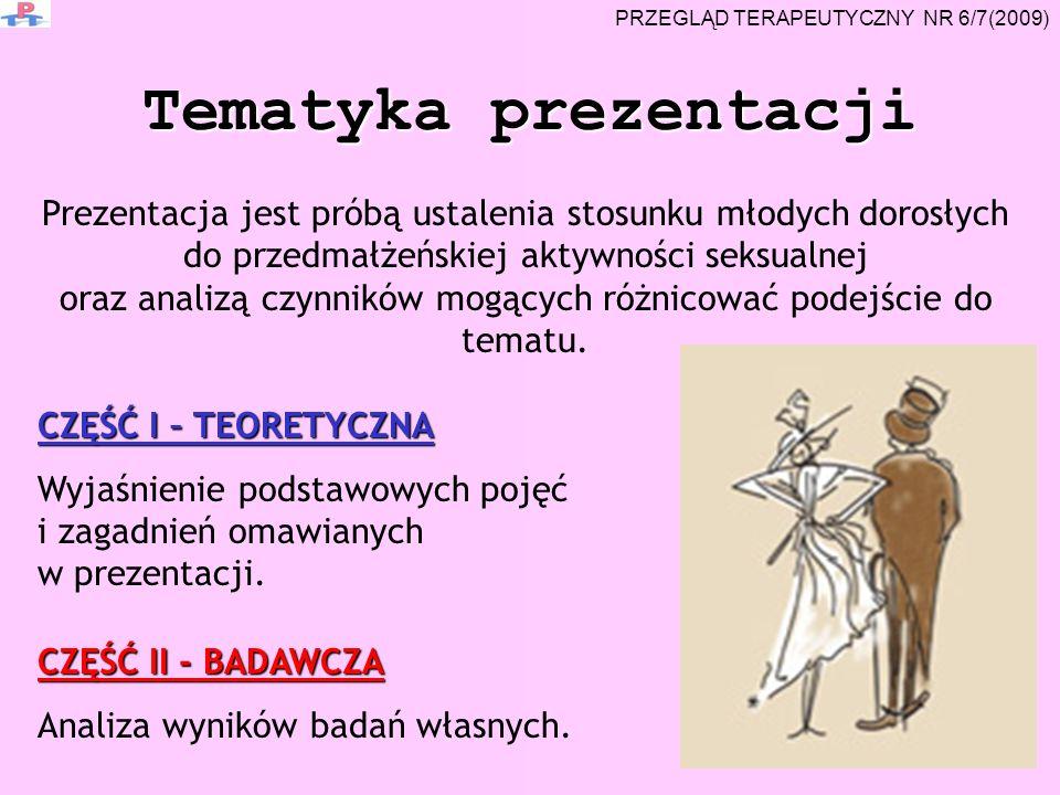 Tematyka prezentacji Prezentacja jest próbą ustalenia stosunku młodych dorosłych do przedmałżeńskiej aktywności seksualnej oraz analizą czynników mogą