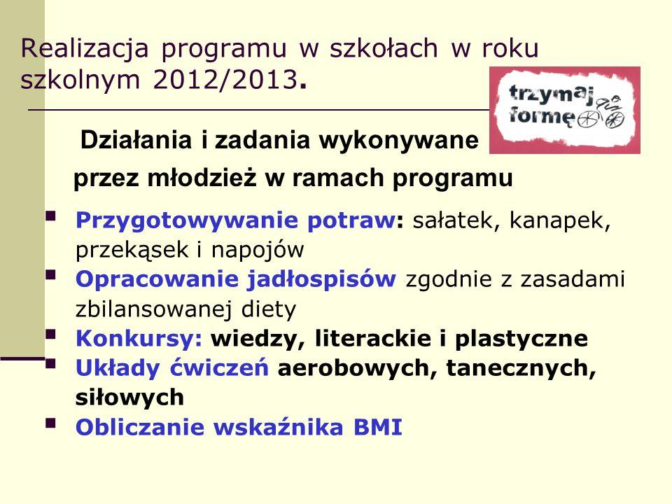 Realizacja programu w szkołach w roku szkolnym 2012/2013. Działania i zadania wykonywane przez młodzież w ramach programu Przygotowywanie potraw: sała