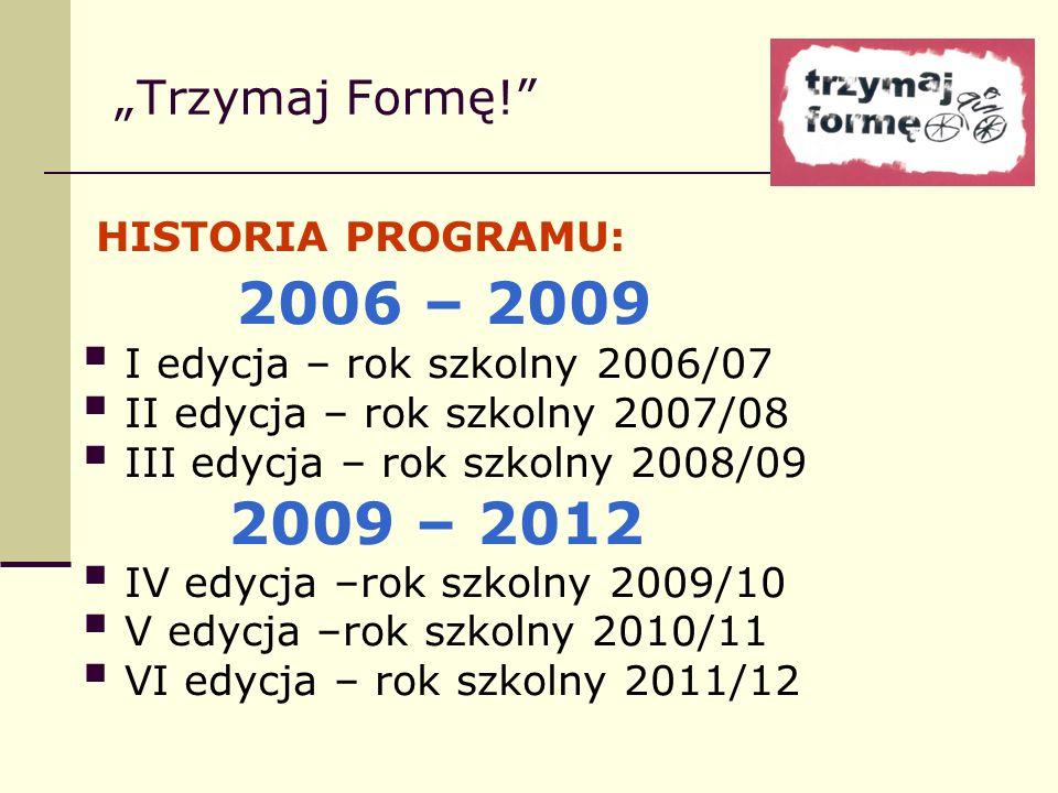 Trzymaj Formę! HISTORIA PROGRAMU: 2006 – 2009 I edycja – rok szkolny 2006/07 II edycja – rok szkolny 2007/08 III edycja – rok szkolny 2008/09 2009 – 2