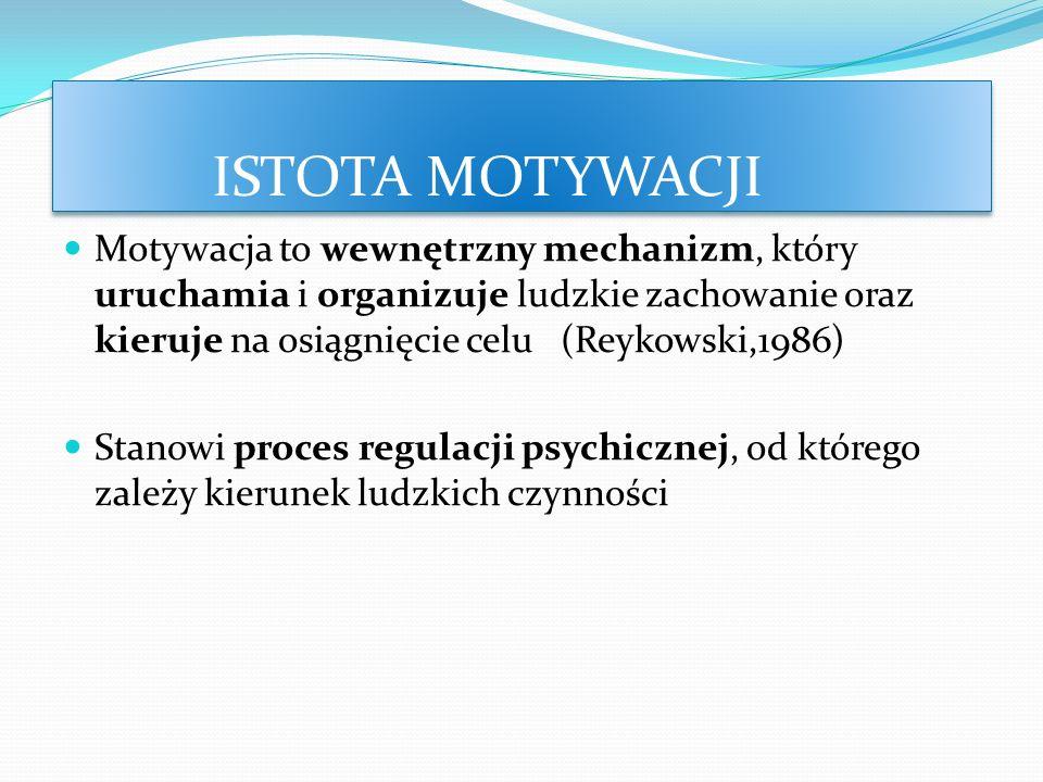 ISTOTA MOTYWACJI Motywacja to wewnętrzny mechanizm, który uruchamia i organizuje ludzkie zachowanie oraz kieruje na osiągnięcie celu (Reykowski,1986)