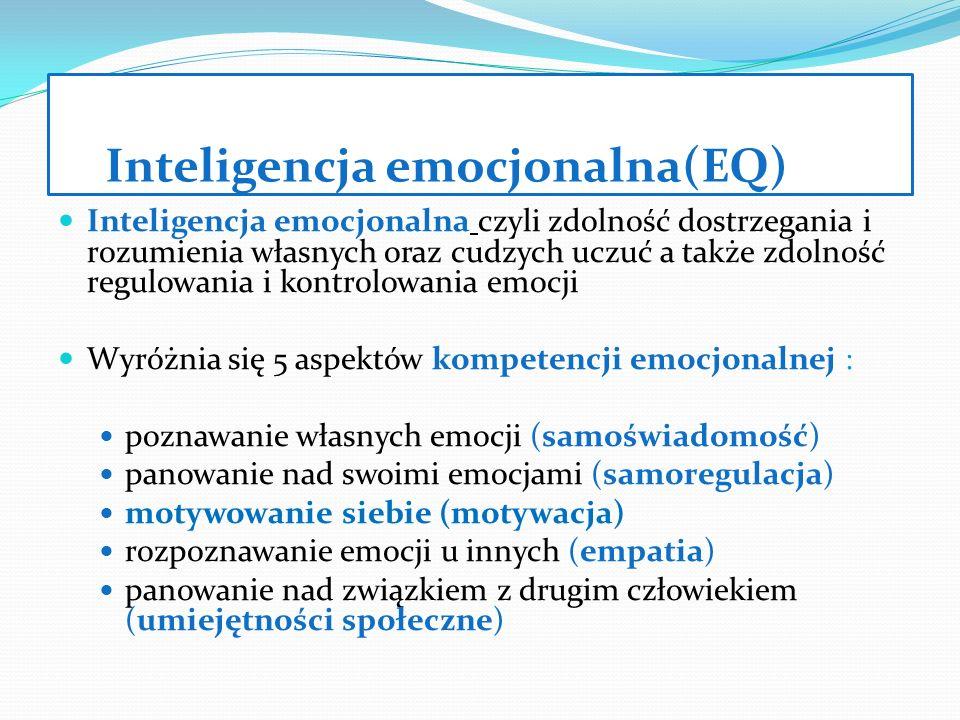 Inteligencja emocjonalna(EQ) Inteligencja emocjonalna czyli zdolność dostrzegania i rozumienia własnych oraz cudzych uczuć a także zdolność regulowani