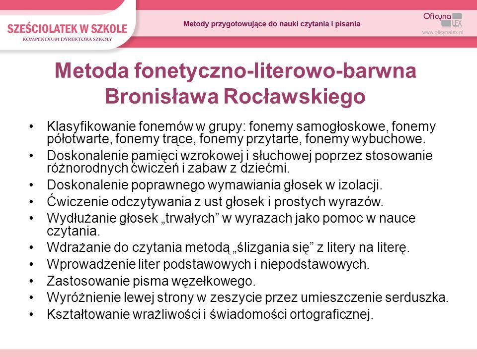 Metoda fonetyczno-literowo-barwna Bronisława Rocławskiego Klasyfikowanie fonemów w grupy: fonemy samogłoskowe, fonemy półotwarte, fonemy trące, fonemy
