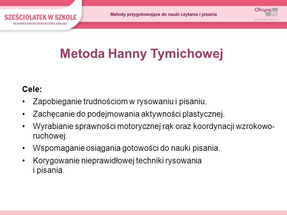 Metoda Hanny Tymichowej Cele: Zapobieganie trudnościom w rysowaniu i pisaniu. Zachęcanie do podejmowania aktywności plastycznej. Wyrabianie sprawności