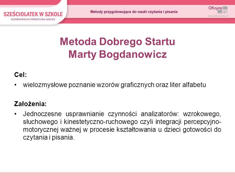 Metoda Dobrego Startu Marty Bogdanowicz Cel: wielozmysłowe poznanie wzorów graficznych oraz liter alfabetu Założenia: Jednoczesne usprawnianie czynnoś