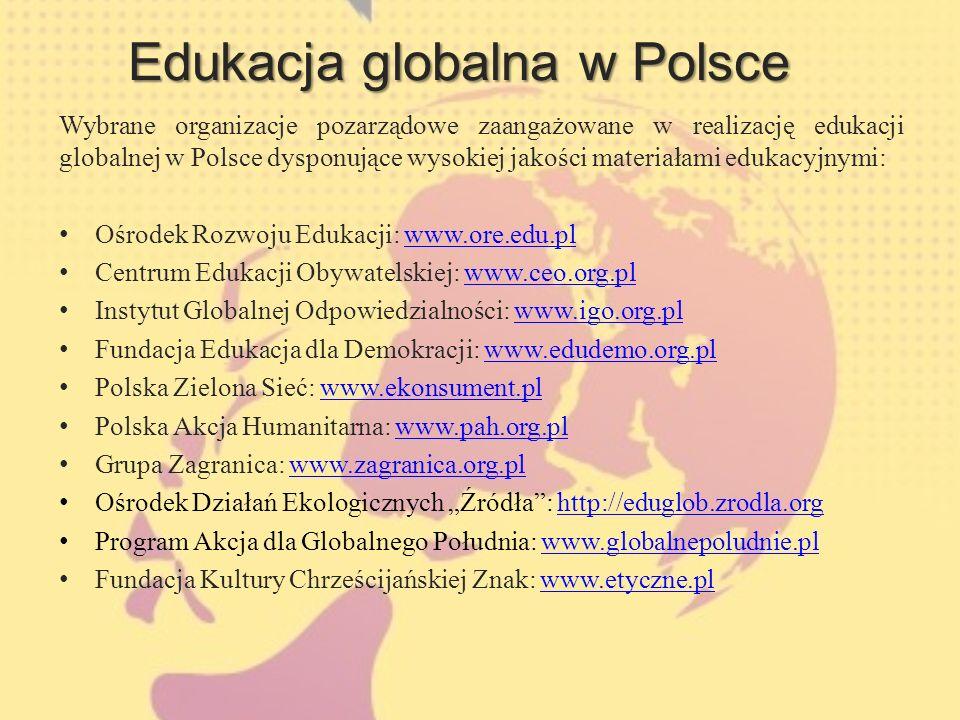 Edukacja globalna w Polsce Wybrane organizacje pozarządowe zaangażowane w realizację edukacji globalnej w Polsce dysponujące wysokiej jakości materiałami edukacyjnymi: Ośrodek Rozwoju Edukacji: www.ore.edu.plwww.ore.edu.pl Centrum Edukacji Obywatelskiej: www.ceo.org.plwww.ceo.org.pl Instytut Globalnej Odpowiedzialności: www.igo.org.plwww.igo.org.pl Fundacja Edukacja dla Demokracji: www.edudemo.org.plwww.edudemo.org.pl Polska Zielona Sieć: www.ekonsument.plwww.ekonsument.pl Polska Akcja Humanitarna: www.pah.org.plwww.pah.org.pl Grupa Zagranica: www.zagranica.org.plwww.zagranica.org.pl Ośrodek Działań Ekologicznych Źródła: http://eduglob.zrodla.orghttp://eduglob.zrodla.org Program Akcja dla Globalnego Południa: www.globalnepoludnie.plwww.globalnepoludnie.pl Fundacja Kultury Chrześcijańskiej Znak: www.etyczne.plwww.etyczne.pl