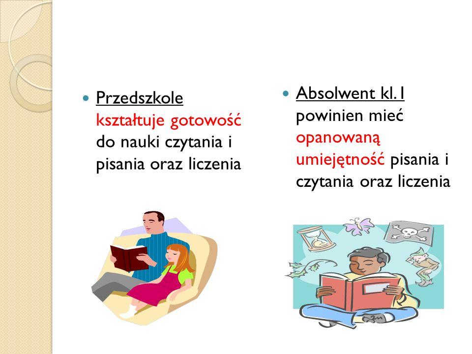 Przedszkole kształtuje gotowość do nauki czytania i pisania oraz liczenia Absolwent kl.