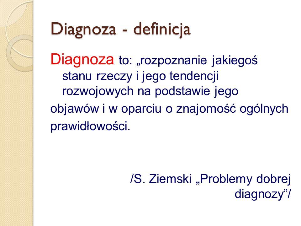 Diagnoza - definicja Diagnoza to: rozpoznanie jakiegoś stanu rzeczy i jego tendencji rozwojowych na podstawie jego objawów i w oparciu o znajomość ogólnych prawidłowości.