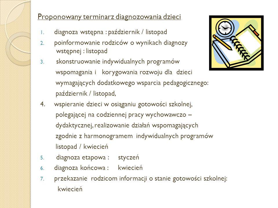Proponowany terminarz diagnozowania dzieci 1.diagnoza wstępna : październik / listopad 2.