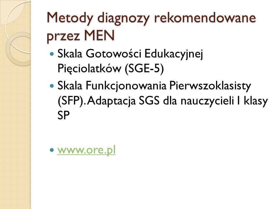 Metody diagnozy rekomendowane przez MEN Skala Gotowości Edukacyjnej Pięciolatków (SGE-5) Skala Funkcjonowania Pierwszoklasisty (SFP).