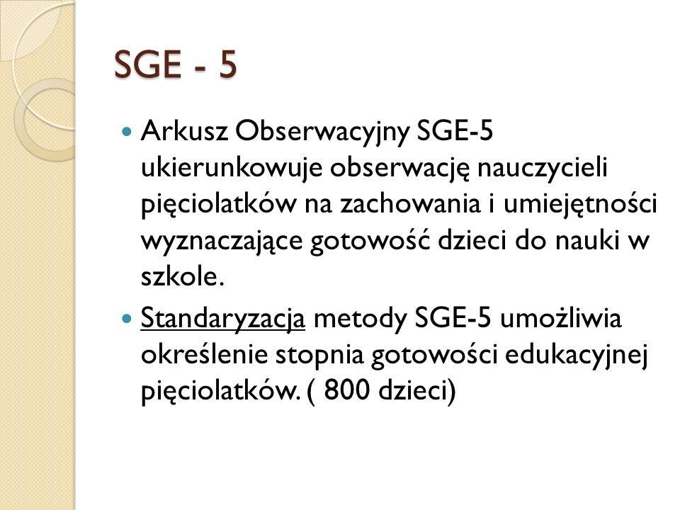 SGE - 5 Arkusz Obserwacyjny SGE-5 ukierunkowuje obserwację nauczycieli pięciolatków na zachowania i umiejętności wyznaczające gotowość dzieci do nauki w szkole.