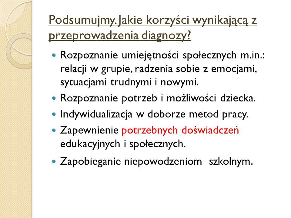 Podsumujmy.Jakie korzyści wynikającą z przeprowadzenia diagnozy.