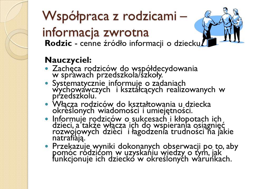 Współpraca z rodzicami – informacja zwrotna Rodzic - cenne źródło informacji o dziecku.