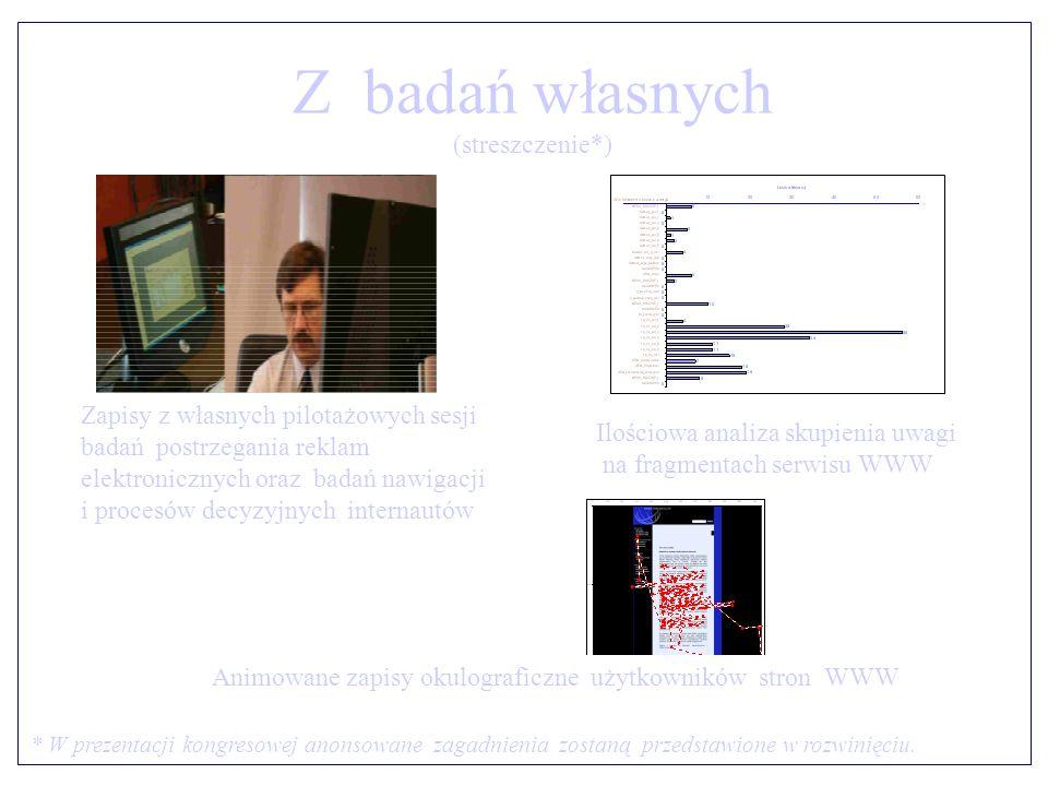 Z badań własnych (streszczenie*) * W prezentacji kongresowej anonsowane zagadnienia zostaną przedstawione w rozwinięciu.