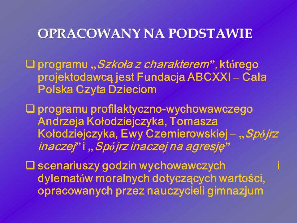 programu Szkoła z charakterem, kt ó rego projektodawcą jest Fundacja ABCXXI – Cała Polska Czyta Dzieciom programu profilaktyczno-wychowawczego Andrzej