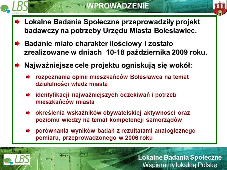 Warszawa, lipiec 2009 roku 2 Lokalne Badania Społeczne Wspieramy lokalną Polskę WPROWADZENIE Lokalne Badania Społeczne przeprowadziły projekt badawczy na potrzeby Urzędu Miasta Bolesławiec.