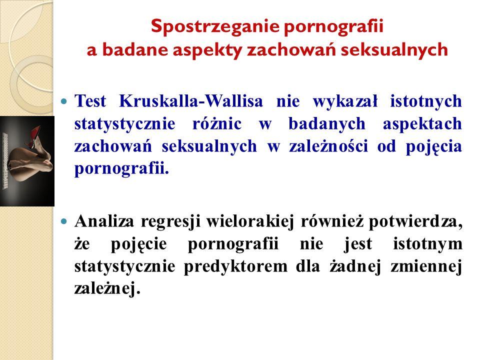 Spostrzeganie pornografii a badane aspekty zachowań seksualnych Test Kruskalla-Wallisa nie wykazał istotnych statystycznie różnic w badanych aspektach