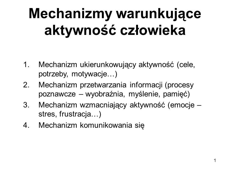 1 Mechanizmy warunkujące aktywność człowieka 1.Mechanizm ukierunkowujący aktywność (cele, potrzeby, motywacje…) 2.Mechanizm przetwarzania informacji (