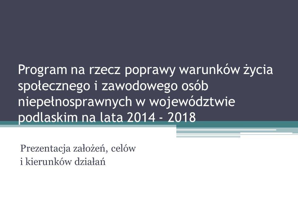 Program na rzecz poprawy warunków życia społecznego i zawodowego osób niepełnosprawnych w województwie podlaskim na lata 2014 - 2018 Prezentacja założeń, celów i kierunków działań