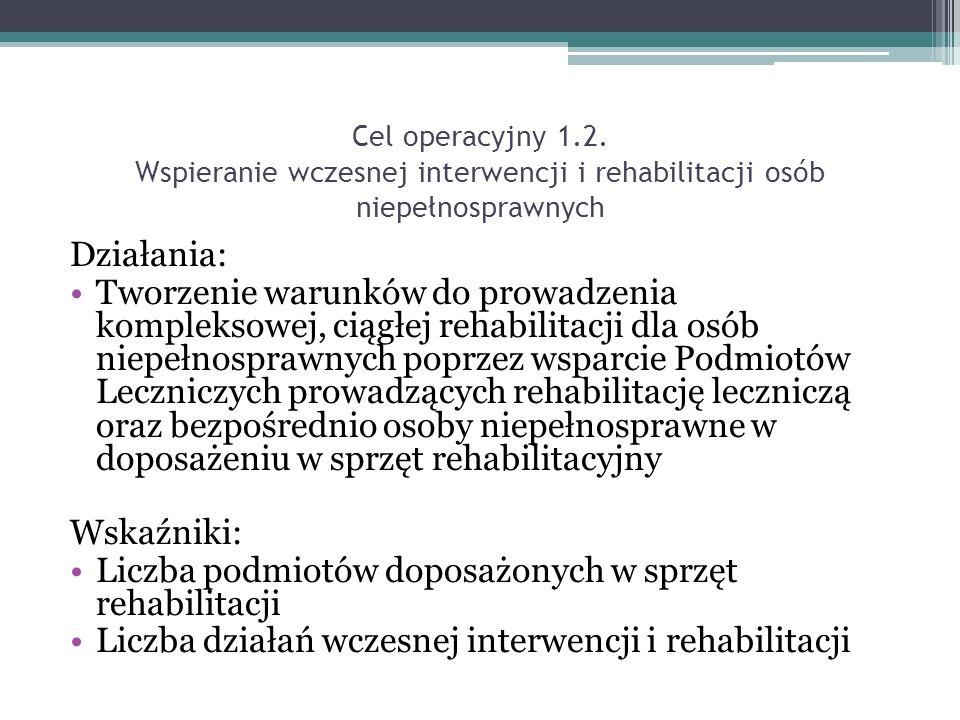 Działania: Tworzenie warunków do prowadzenia kompleksowej, ciągłej rehabilitacji dla osób niepełnosprawnych poprzez wsparcie Podmiotów Leczniczych prowadzących rehabilitację leczniczą oraz bezpośrednio osoby niepełnosprawne w doposażeniu w sprzęt rehabilitacyjny Wskaźniki: Liczba podmiotów doposażonych w sprzęt rehabilitacji Liczba działań wczesnej interwencji i rehabilitacji Cel operacyjny 1.2.