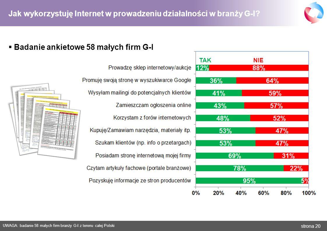 strona 20 Jak wykorzystuję Internet w prowadzeniu działalności w branży G-I? Badanie ankietowe 58 małych firm G-I TAK NIE UWAGA: badanie 58 małych fir