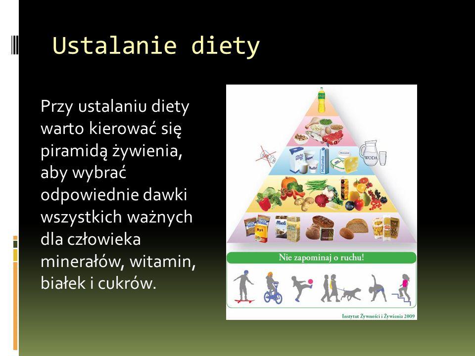 Ustalanie diety Przy ustalaniu diety warto kierować się piramidą żywienia, aby wybrać odpowiednie dawki wszystkich ważnych dla człowieka minerałów, wi
