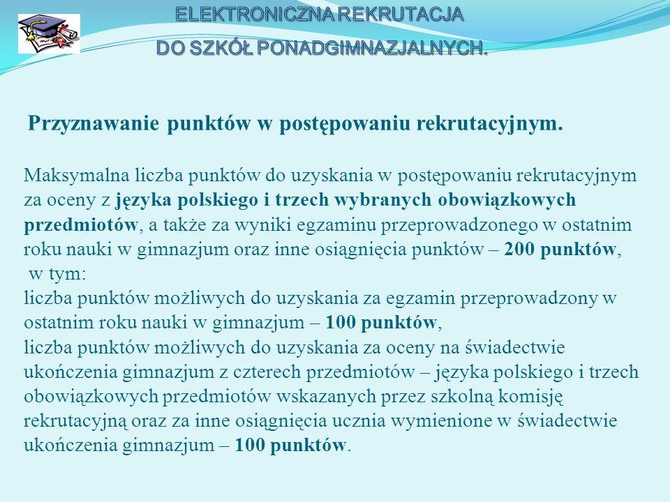 Wyniki egzaminu gimnazjalnego (zawarte w zaświadczeniu o szczegółowych wynikach egzaminu), wyrażone w skali procentowej dla zadań z zakresu następujących przedmiotów: 1) języka polskiego, 2) historii i wiedzy o społeczeństwie, 3) matematyki, 4) przedmiotów przyrodniczych: biologii, geografii, fizyki i chemii, 5) języka obcego nowożytnego na poziomie podstawowym, przeliczane są na punkty według zasady, iż z każdego zakresu można uzyskać maksymalnie 20 punktów, czyli jeden procent w każdym z zakresów odpowiada 0,2 punktu.