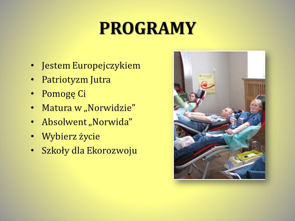 PROGRAMY Jestem Europejczykiem Patriotyzm Jutra Pomogę Ci Matura w Norwidzie Absolwent Norwida Wybierz życie Szkoły dla Ekorozwoju