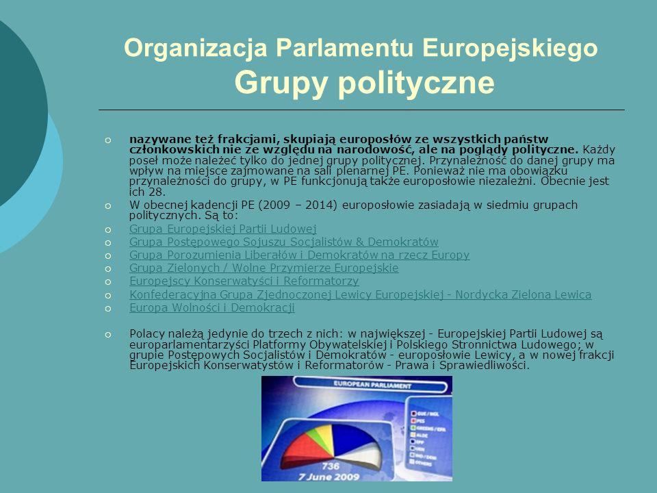 Organizacja Parlamentu Europejskiego Grupy polityczne nazywane też frakcjami, skupiają europosłów ze wszystkich państw członkowskich nie ze względu na