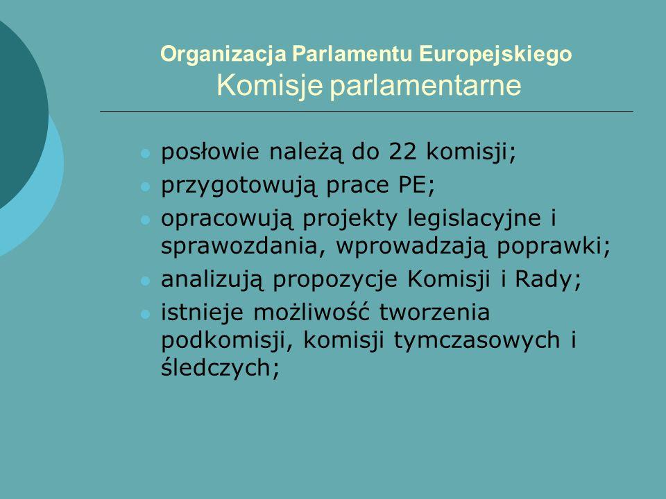 Organizacja Parlamentu Europejskiego Komisje parlamentarne posłowie należą do 22 komisji; przygotowują prace PE; opracowują projekty legislacyjne i sp