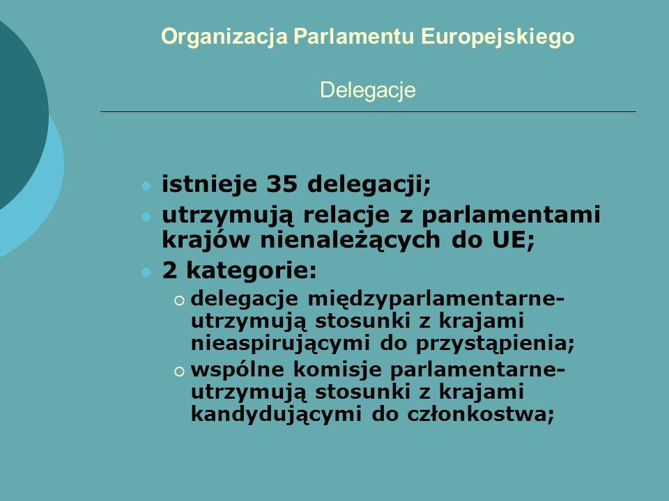 Organizacja Parlamentu Europejskiego Delegacje istnieje 35 delegacji; utrzymują relacje z parlamentami krajów nienależących do UE; 2 kategorie: delega