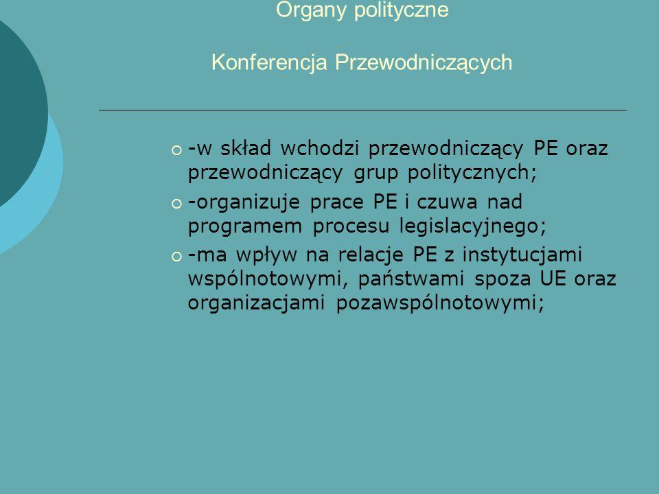Organy polityczne Konferencja Przewodniczących -w skład wchodzi przewodniczący PE oraz przewodniczący grup politycznych; -organizuje prace PE i czuwa